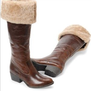 Born | Clemens Brown Leather Shearling Boots | 7.5